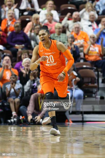 Alex Bentley of the Connecticut Sun reacts to a play during the game against the Las Vegas Aces on May 20 2018 at the Mohegan Sun Arena in Uncasville...