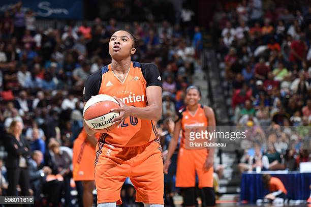 Alex Bentley of the Connecticut Sun shoots a free throw against the Minnesota Lynx on August 26 2016 at the Mohegan Sun Arena in Uncasville...