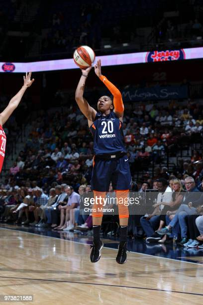Alex Bentley of the Connecticut Sun shoots the ball against the Washington Mystics during a WNBA game on June 13 2018 at the Mohegan Sun Arena in...