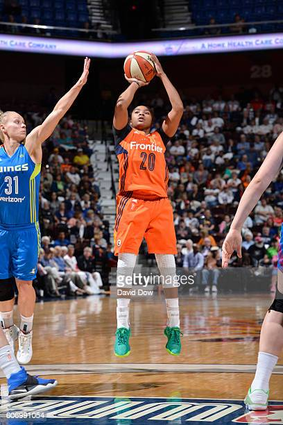 Alex Bentley of the Connecticut Sun shoots the ball against the Dallas Wings on September 16 2016 at the Mohegan Sun Arena in Uncasville Connecticut...