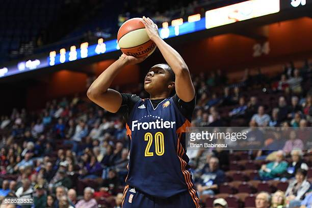 Alex Bentley of the Connecticut Sun shoots the ball against the San Antonio Stars in a WNBA preseason game on May 5 2016 at the Mohegan Sun Arena in...