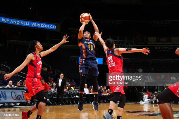 Alex Bentley of the Connecticut Sun shoots the ball during the game against the Washington Mystics on May 31 2017 at the Verizon Center in Washington...