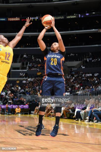Alex Bentley of the Connecticut Sun shoots the ball during the game against the Los Angeles Sparks on September 3 2017 at STAPLES Center in Los...
