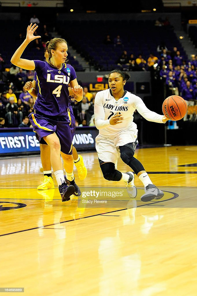 Alex Bentley #20 of the Penn State Lady Lions is guarded by Anne Pedersen #4 of the LSU Tigers during the second round of the NCAA Tournament at the Pete Maravich Assembly Center on March 26, 2013 in Baton Rouge, Louisiana. LSU won the game 71-66.
