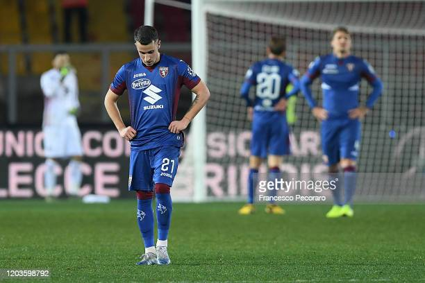 Alex Berenguer of Torino FC stands disappointed during the Serie A match between US Lecce and Torino FC at Stadio Via del Mare on February 02 2020 in...