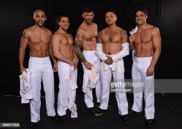 Alex Beresford Kem Cetinay Jake Quickenden Ray Quinn and MAx Evans attend the press launch photocall for the Dancing on Ice Live Tour at Wembley...
