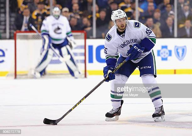 Alex Biega of the Vancouver Canucks skates against the Boston Bruins during the second period at TD Garden on January 21 2016 in Boston Massachusetts