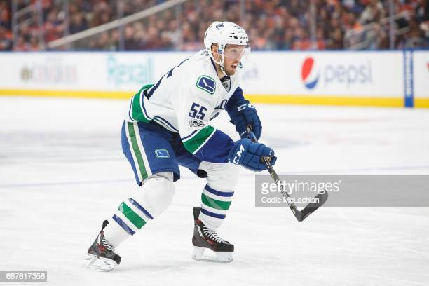 Alex Biega of the Vancouver Canucks skates against the Edmonton Oilers on April 9 2017 at Rogers Place in Edmonton Alberta Canada The Oilers won 52