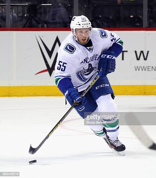 Alex Biega of the Vancouver Canucks skates against the New York Islanders at the Barclays Center on January 17 2016 in the Brooklyn borough of New...