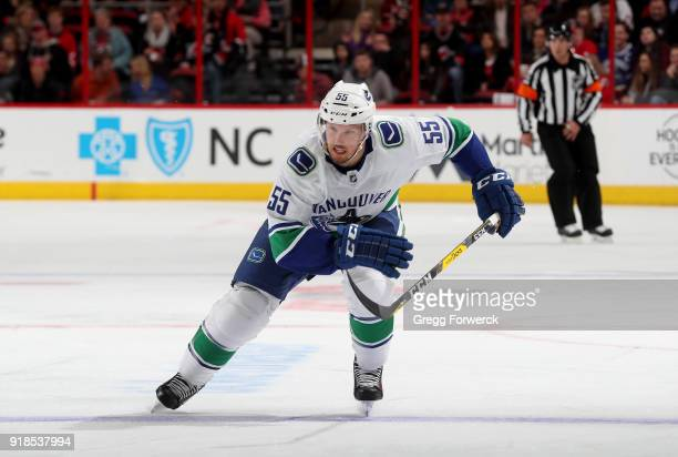 Alex Biega of the Vancouver Canucks skates for position on the ice during an NHL game against the Carolina Hurricanes on February 9 2018 at PNC Arena...