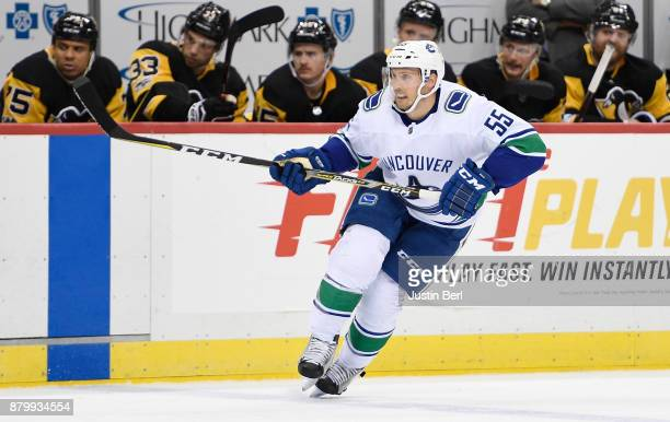 Alex Biega of the Vancouver Canucks skates in the third period during the game against the Pittsburgh Penguins at PPG PAINTS Arena on November 22...