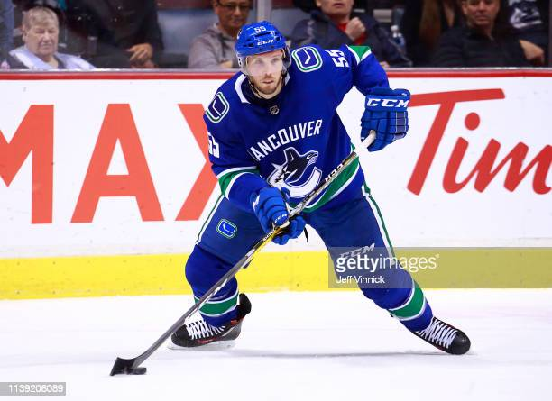 Alex Biega of the Vancouver Canucks skates up ice during their NHL game against the Anaheim Ducks at Rogers Arena March 26 2019 in Vancouver British...