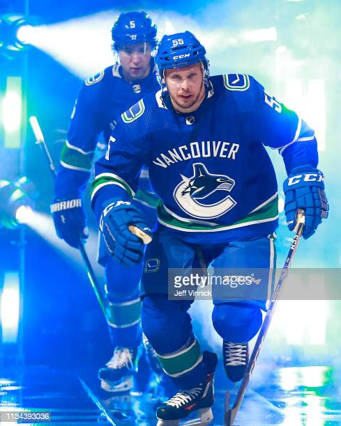Alex Biega of the Vancouver Canucks steps onto the ice during their NHL game against the Arizona Coyotes at Rogers Arena February 21 2019 in...