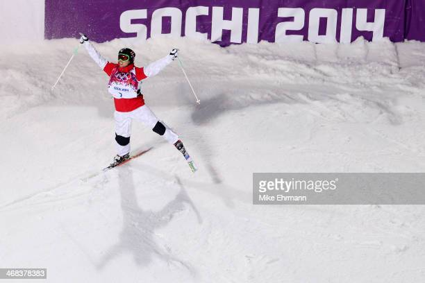 Alex Bilodeau of Canada celebrates in the Men's Moguls Finals on day three of the Sochi 2014 Winter Olympics at Rosa Khutor Extreme Park on February...