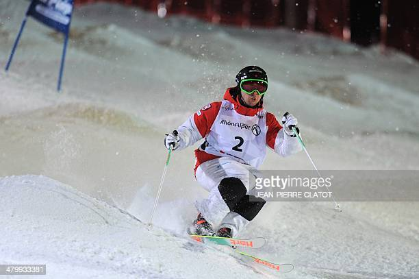 Alex Bilodeau of Canada competes during the Men's Moguls final of the Freestyle Skiing World Cup on March 21 in the ski resort of La Plagne eastern...