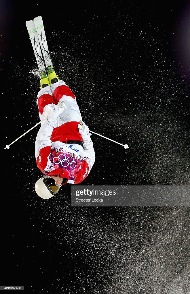 Alex Bilodeau of Canada trains during moguls practice at the Extreme Park at Rosa Khutor Mountain ahead of the Sochi 2014 Winter Olympics on February 5, 2014 in Sochi, Russia.