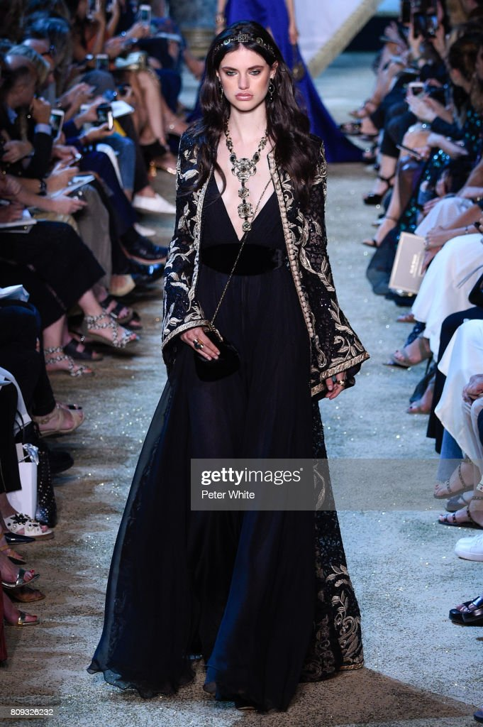Alex Binaris walks the runway during the Elie Saab Haute Couture Fall/Winter 2017-2018 show as part of Haute Couture Paris Fashion Week on July 5, 2017 in Paris, France.