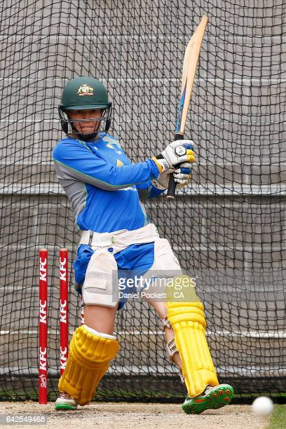 Alex Blackwell bats during a Southern Stars training session at Melbourne Cricket Ground on February 18 2017 in Melbourne Australia