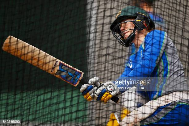 Alex Blackwell hits the ball during a Southern Stars training session at Melbourne Cricket Ground on February 18 2017 in Melbourne Australia