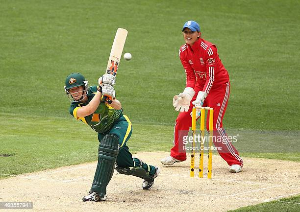 Alex Blackwell of Australia bats during game one of the women's One Day International Series between Australia and England at the Melbourne Cricket...