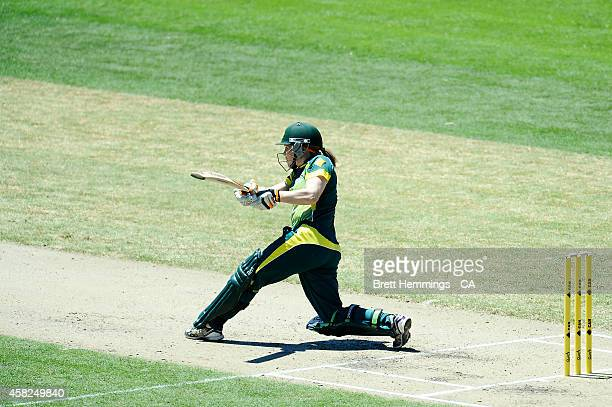 Alex Blackwell of Australia bats during the women's International Twenty20 match between Australia and the West Indies at North Sydney Oval on...
