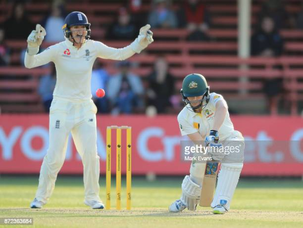 Alex Blackwell of Australia out lbw off the bowling of Sophie Ecclestoneduring day two of the Women's Test match between Australia and England at...