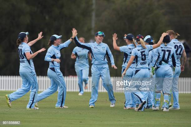 Alex Blackwell of NSW celebrates a wicket during the WNCL Final match between New South Wales and Western Australia at Blacktown International...