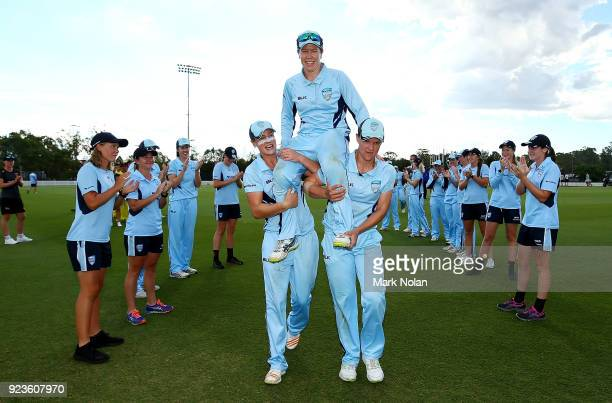 Alex Blackwell of NSW is chaired from the field after winning the WNCL Final match between New South Wales and Western Australia at Blacktown...