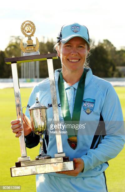 Alex Blackwell of NSW poses with the trophy after the WNCL Final match between New South Wales and Western Australia at Blacktown International...