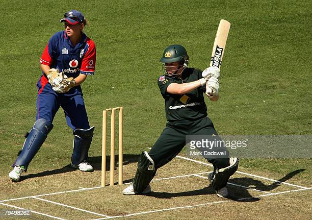 Alex Blackwell of the Southern Stars square cuts during the Women's One Day International match between the Australian Southern Stars and England at...