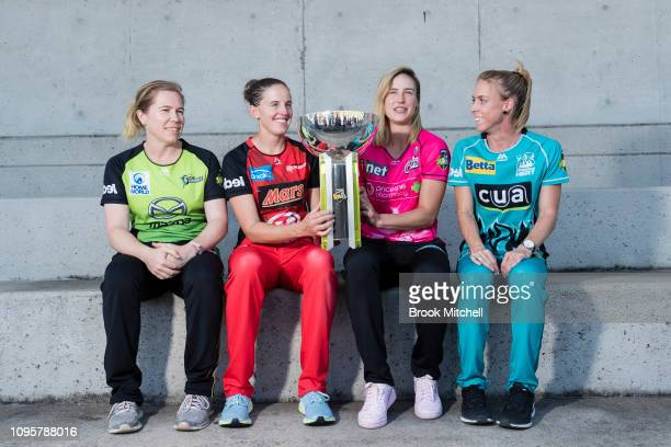 Alex Blackwell of the Sydney Thunder Amy Satterthwaite of the Melbourne Renegades Ellyse Perry of the Sydney Sixers and Kirby Short of the Brisbane...