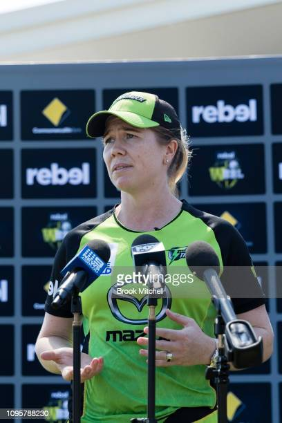 Alex Blackwell of the Sydney Thunder speaks to the media during the Women's Big Bash League media opportunity at Drummoyne Oval on January 18 2019 in...