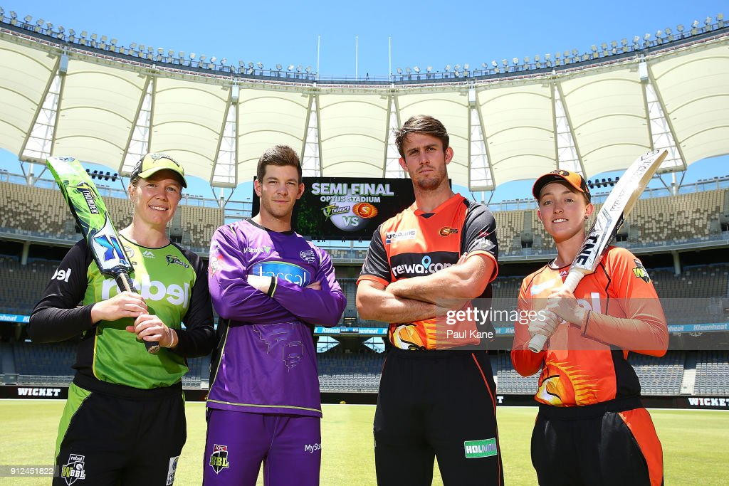 Alex Blackwell of the Sydney Thunder, Tim Paine of the Hobart Hurricanes, Mitchell Marsh of the Scorchers and Emily Smith of the Scorchers pose during a media opportunity ahead of the Big Bash League semi finals at Optus Stadium on January 31, 2018 in Perth, Australia.