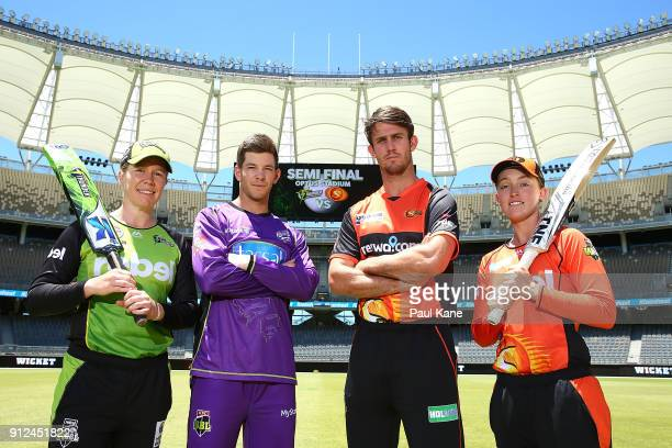Alex Blackwell of the Sydney Thunder Tim Paine of the Hobart Hurricanes Mitchell Marsh of the Scorchers and Emily Smith of the Scorchers pose during...