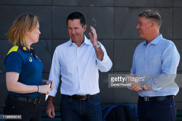 Alex Blackwell, Ricky Ponting and Shane Warne arrive to speak to the media during a Cricket Australia media opportunity at Melbourne Cricket Ground...