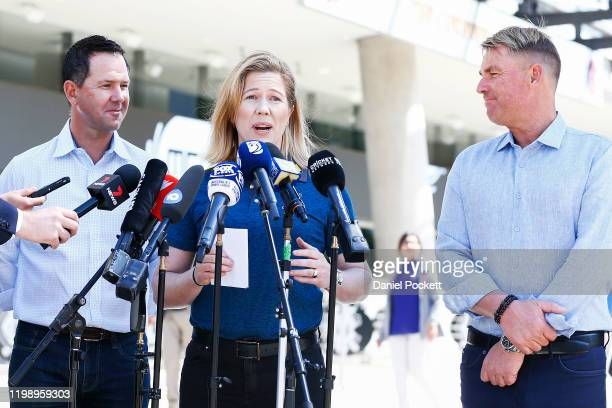 Alex Blackwell speaks to the media along side Ricky Ponting and Shane Warne during a Cricket Australia media opportunity at Melbourne Cricket Ground...