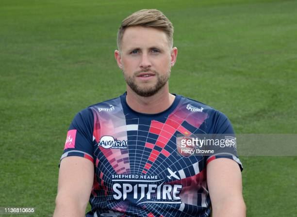 Alex Blake of Kent CCC poses for a photograph during the Kent CCC Photocall at The Spitfire Ground on March 18 2019 in Canterbury England