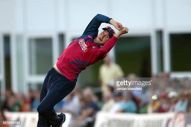Alex Blake of Kent drops a catch at the boundary during the Natwest T20 Blast match between Kent Spitfires and Hampshire at St. Lawrence Ground on...