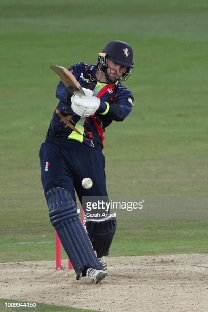 Alex Blake of Kent Spitfires hits out during the Vitality Blast match between Kent Spitfires and Essex Eagles at The Spitfire Ground on August 2 2018...