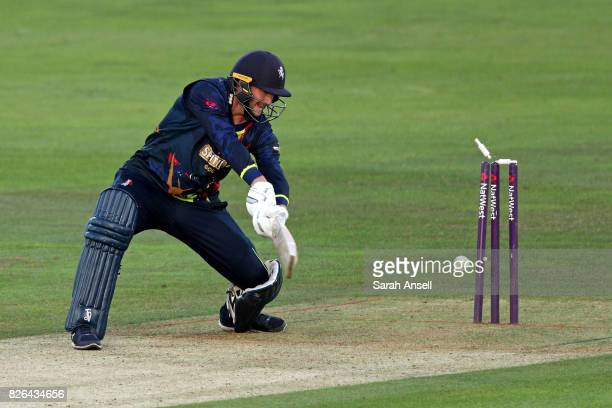 Alex Blake of Kent Spitfires is bowled by Jofra Archer of Sussex Sharks during the match between Kent Spitfires and Sussex Sharks at The Spitfire...