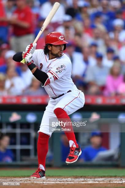 Alex Blandino of the Cincinnati Reds bats against the Chicago Cubs at Great American Ball Park on June 22 2018 in Cincinnati Ohio