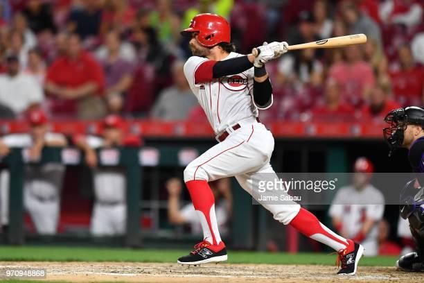 Alex Blandino of the Cincinnati Reds bats against the Colorado Rockies at Great American Ball Park on June 5 2018 in Cincinnati Ohio