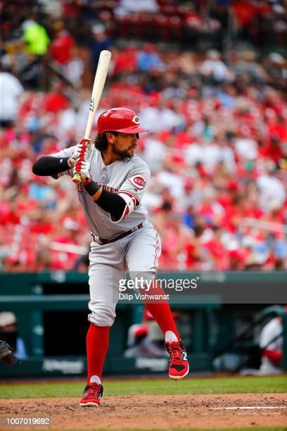 Alex Blandino of the Cincinnati Reds bats against the St Louis Cardinals at Busch Stadium on July 15 2018 in St Louis Missouri