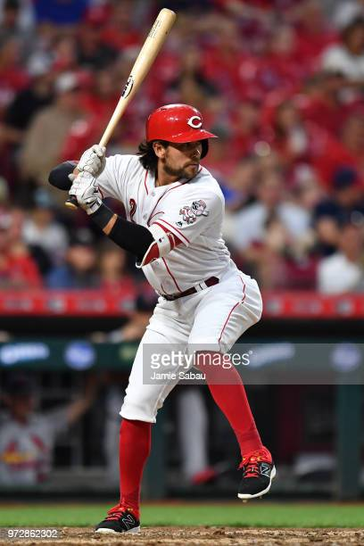 Alex Blandino of the Cincinnati Reds bats against the St Louis Cardinals at Great American Ball Park on June 8 2018 in Cincinnati Ohio