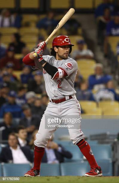 Alex Blandino of the Cincinnati Reds bats in the ninth inning during the MLB game against the Los Angeles Dodgers at Dodger Stadium on May 11 2018 in...