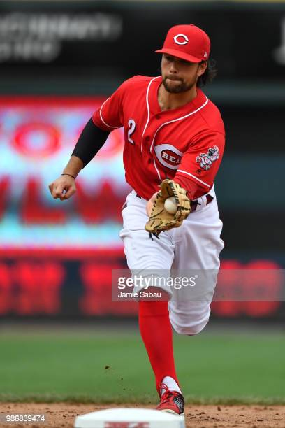 Alex Blandino of the Cincinnati Reds fields a ground ball against the Chicago Cubs at Great American Ball Park on June 23 2018 in Cincinnati Ohio