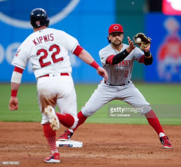 Alex Blandino of the Cincinnati Reds forces out Jason Kipnis of the Cleveland Indians at second base during the seventh inning at Progressive Field...