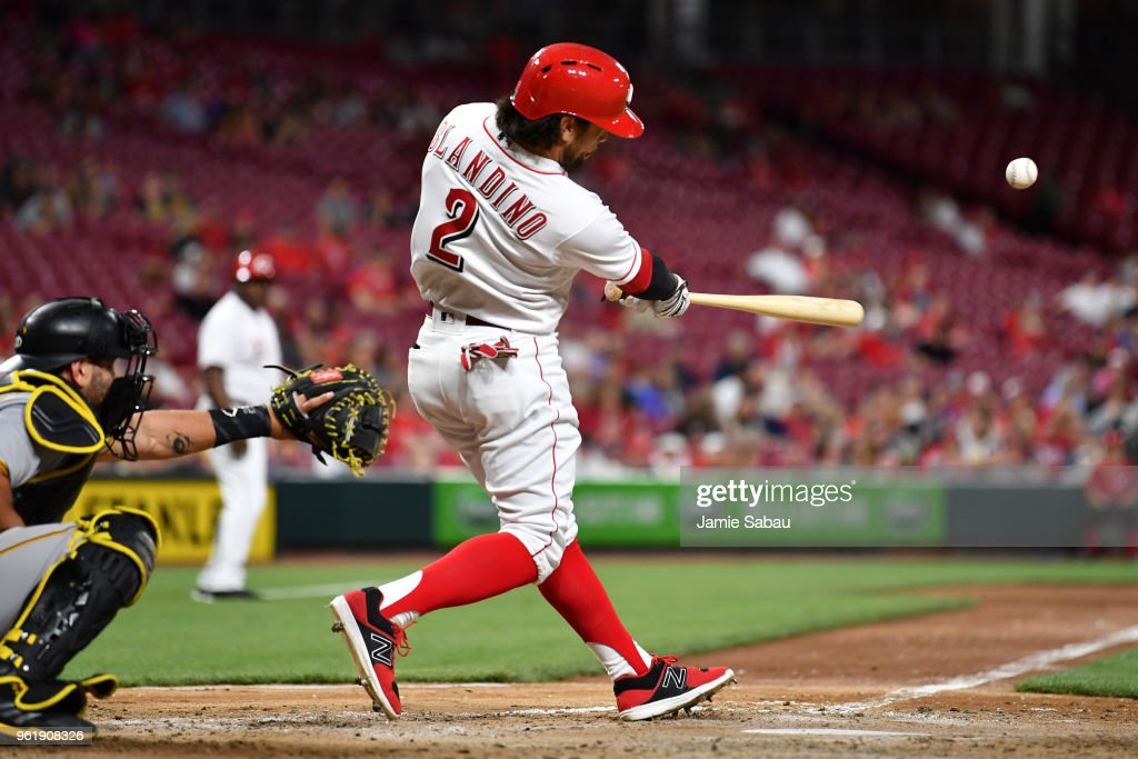 Alex Blandino #2 of the Cincinnati Reds hits an RBI single in the eighth inning against the Pittsburgh Pirates at Great American Ball Park on May 23, 2018 in Cincinnati, Ohio. Pittsburgh defeated Cincinnati 5-4 in 12 innings.