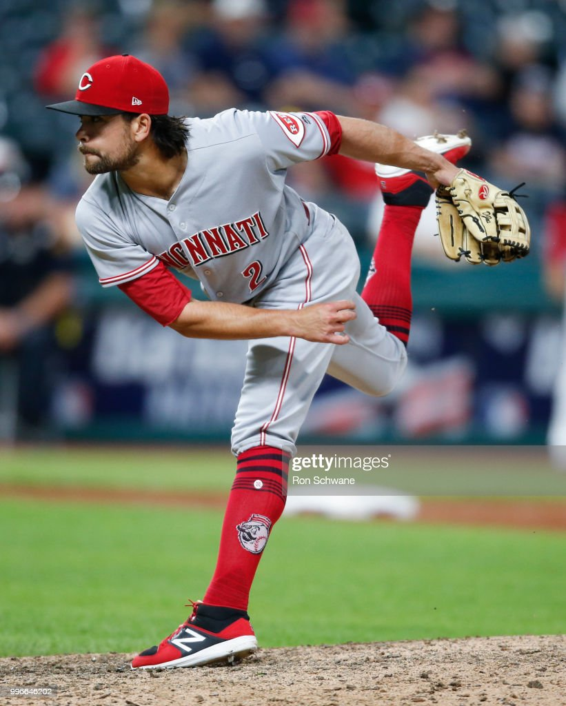 Alex Blandino #2 of the Cincinnati Reds pitches against the Cleveland Indians during the eighth inning at Progressive Field on July 11, 2018 in Cleveland, Ohio.
