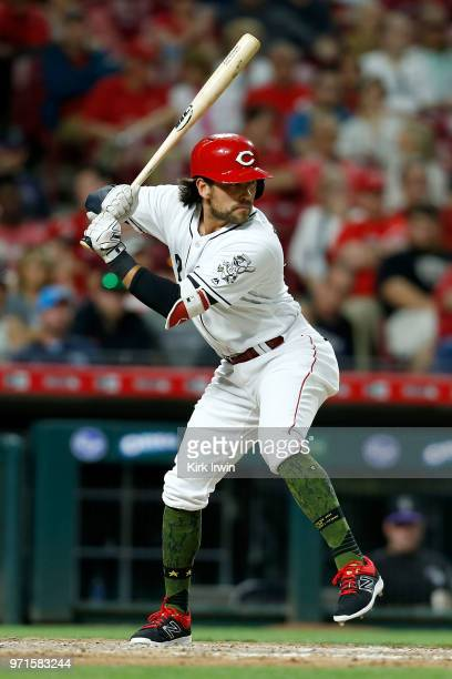 Alex Blandino of the Cincinnati Reds takes an at bat during the game against the Colorado Rockies at Great American Ball Park on June 6 2018 in...
